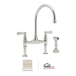 "Rohl - Rohl U.4719L-PN-2 Polished Nickel Perrin and Rowe Perrin and Rowe Low - Perrin and Rowe Low Lead Bridge Kitchen Faucet with Side Spray with Metal Lever HandlesRohl's Perrin & Rowe collection provides the opportunity to showcase the Victorian theme throughout the home. Design elements like ample scrolling and generously arced spouts define the Victorian theme, augmented by solid brass construction and a wide variety of finish options. Rohl's Perrin & Rowe collection features stylish and high-quality faucets for the kitchen and bathroom, allowing you to carry the theme from room to room.Rohl U.4719L-2 Features:All brass faucet body construction - weight: 7 lbs.Hand-machined from solid brass stockIndustry leading, 1/4 turn lifetime ceramic disc valveSuperior finishing process – chemical, scratch, and stain resistantNumber of installation holes required: 3Insulated brass side spray (not plastic)Spout swivels to allow for unobstructed sink accessInstalls onto decks up to 1-5/8"" thickMetal lever handles includedOverall height: 16-3/8"" (measured from counter top to highest point of faucet)Spout height: 10-7/8"" (measured from counter top to faucet outlet)Spout reach: 8-7/8"" (measured from center of faucet base to center of faucet outlet)Low lead compliant – complies with federal and state regulations for lead contentDesigned for use with standard U.S. plumbing connectionsExtra secure mounting assemblyAll necessary mounting hardware includedFully covered under Rohl's limited lifetime warrantyManufactured in New Zealand, Western Europe, and/or North AmericaAbout Rohl:Excellence, durability, and beauty. Family values, integrity, and innovation. These are all terms which aptly describe Rohl and its remarkable selection of kitchen and bathroom faucets and fixtures. Since 1983, Rohl has maintained a commitment to providing high-quality pl"