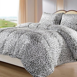 ExceptionalSheets - Snow Leopard Reversible Down Alternative Comforter Set - Satisfy your wild side with the ExceptionalSheets Down Alternative Snow Leopard Print Comforter Set. This 45 oz Down Alternative Low Fill Power 500 Comforter Set Is made from micro fiber and is as soft as goose down. It is treated with anti-microbial finish to repel dust mites and is ideal for allergy sufferers.