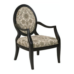 Comfort Pointe - Lynda Chair - Fluted aprons. Sloped comfortable arms. Solid Wood Construction. . Fabric: Marble color featuring grey, black, gold, and cream. Fabric Content: 100% poly. Finish: Ebony Finish. Seat Height: 18.5 inches. Arm Height: 26.5 inches. 26 in. W x 31 in. D x 42 in. H (30.4 lbs.)The Lynda chair offers a sleek modern design coupled with a marble color fabric which features grey, black, gold, and cream. The sloped arms and fluted seat rails compliment the black finish.  Crafted with solid hardwood construction, this chair is sure to be a staple in your home for years to come.