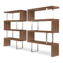 modloft - Pearl Bookcase in Walnut Finish - Shown in 2 (not included). 4 Fixed shelves. Made of solid hardwood. Ladder chrome supports. Clean, modern lines and open shelving. Act as natural partitioning between adjacent rooms. Minimal assembly required. Bottom shelf clearance of 15 in.. 51 in. W x 14 in. D x 67 in. H (162 lbs.)The Pearl bookcase adds a modern edge to any room. Four fixed hardwood shelves with ladder-style stainless steel supports give the Pearl a light appearance.