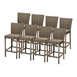 TKC - 8 Royal Barstools w/ Back - Simple, affordable and beautiful, the barstool is all about sharp lines, and beautiful sleek design. This barstool proves that being minimal can still be engaging, comfortable, and beautiful in a patio furniture setting.