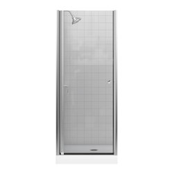 KOHLER - KOHLER K-702400-L-MX Fluence Frameless Pivot Shower Door - KOHLER K-702400-L-MX Fluence Frameless Pivot Shower Door with Crystal Clear Glass in Matte Nickel