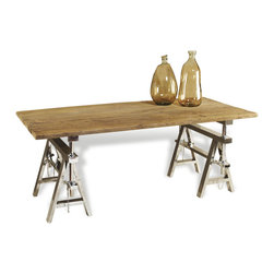 Kathy Kuo Home - Hatcher Modern Rustic Reclaimed Wood Polished Silver Sawhorse Table - The classic table horses found in workshops and craft rooms get an entirely new treatment in the Thatcher table, which upgrades this classic utilitarian technique with a polished steel finish.  Bold and masculine, it offers a unique addition to home offices and industrial  modern spaces.