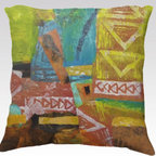 """Kathleen Mooney Artist - IRELAND COLORS Artist Designed Abstract Pillow Cover by Kathleen Mooney - IRELAND COLORS is an Artist Designed abstract pillow cover by Kathleen Mooney, an award winning contemporary international artist - in a combination of super soft velveteen which is printed on both sides with the same design.  Cover measures 22"""" by 22"""", 100% polyester - Dry Clean or spot clean only.  You are buying the pillow cover only which saves you on shipping costs.  All cushion covers and pillow covers are made in Canada, sweatshop free.  This pillow cover features a vibrant fade resistant print with a zipper closure for easy care.  Other standard sizes available by inquiry."""