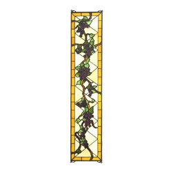 Meyda Tiffany - Meyda Tiffany Jeweled Grapes Tiffany Window X-29797 - Diamond patterning and a slender shape make this Meyda Tiffany window an excellent choice for foyers, creating visual interest while also providing additional privacy for your home. The beautiful golden trim compliments the green leaves and beautiful purple jeweled grapes, creating a vineyard appeal.