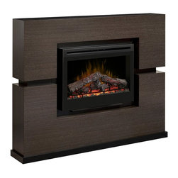 "ClassicFlame - Dimplex Linwood Grey Rift Cabinet Mantel Package - GDS33-1310RG - The Dimplex Linwood Electric Fireplace Mantel Package GDS33-1310RG adds a dramatic touch to any room. The Linwood features a 33"" landscape electric firebox with glowing logs and ember bed, a fully functional digital remote control, and patented Dimplex flame technology. The GDS33-1310RG fireplace provides supplemental heat for up to 400 square feet."