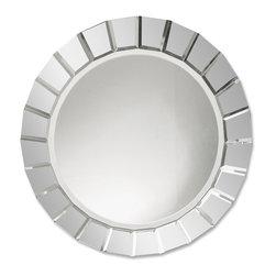 Uttermost - Uttermost 11900 B Fortune Frameless Round Mirror - Numerous Beveld Mirrors Create Frame