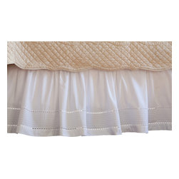 Taylor Linens - Tailored Pinefore White King Bed Skirt - No monsters under this bed. You're sure to rest easy with this pretty eyelet and pintuck bedskirt. Made with white 100 percent cotton percale, it features a wide-band hemstitched edge and is machine washable. Sweet dreams are made of this.