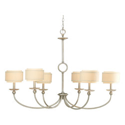 Progress Lighting - Progress Lighting P4463-134 Ashbury 6-Light Silver Ridge Chandelier With Toasted - The Ashbury Collection throws a modern urban twist in your d�cor. Wind down as this six-light linear chandelier features quartz inspired accents to provide a calming essence. Silver ridge finish sets a relaxing tone, as the fixture hangs with peace and tranquility. Even more impressive, unique, double drum shades in thistle weave and toasted linen fabric add a designer touch.  With coordinating fixtures, the Ashbury collection provides choices for your entire home.