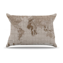 """Kess InHouse - Catherine Holcombe """"Emerald World"""" Vintage Map Pillow Case, King (36"""" x 20"""") - This pillowcase, is just as bunny soft as the Kess InHouse duvet. It's made of microfiber velvety fleece. This machine washable fleece pillow case is the perfect accent to any duvet. Be your Bed's Curator."""