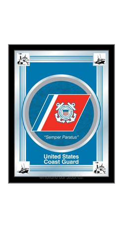 """Holland Bar Stool - Holland Bar Stool U.S. Coast Guard Logo Mirror - U.S. Coast Guard Logo Mirror belongs to Military Collection by Holland Bar Stool The perfect way to show your support for our troops, our logo mirror displays your military logo with a style that fits any setting.  With it's simple but elegant design, colors burst through the 1/8"""" thick glass and are highlighted by the mirrored accents.  Framed with a black, 1 1/4 wrapped wood frame with saw tooth hangers, this 17""""(W) x 22""""(H) mirror is ideal for your office, garage, or any room of the house.  Whether purchasing as a gift for your favorite soldier, or as a gift for yourself, you can take satisfaction knowing you're buying a mirror that is proudly Made in the USA by Holland Bar Stool Company, Holland, MI.   Mirror (1)"""