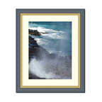 "Frames By Mail - Wall Picture Frame Black ribbed with a gold lip - white acid-free matte, 11x14 - This 11X14 2.25"" wide black ribbed frame with a gold lip is imported from Italy.  The white matte can be removed to accommodate a larger picture.  The frame includes regular plexi-glass (.098 thickness) foam core backing and can hang either horizontal or vertical."