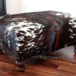 Handcrafted by The Cow Pelt - Handcrafted Cowhide Ottoman - Dark Rich Brown and White Hide - ML McManus