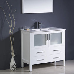 Fresca - Fresca Torino 36 White Modern Bathroom Vanity w/ Integrated Sink - The Torino 36 vanity from Fresca features a white finish and frosted glass panels for a fresh, modern look to any bathroom. With a solid construction to ensure long lasting durability, this vanity provides a stylish yet highly practical storage solution for bathroom essentials. This vanity comes complete with the integrated sink, which creates a neat finish. Torino Modern Bathroom Vanity Details:   Dimensions: 35 3/4W x 18 1/8D x 33 3/4H Material: Plywood with veneer, integrated ceramic sink Single hole faucet mount Finish: White Please note: faucet not included