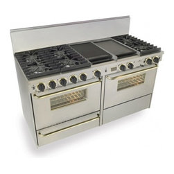 """FiveStar - TTN-637-7BSW 60"""" Freestanding Dual Fuel-Natural Gas Range With 6 Sealed Ultra Hi - Six sealed Ultra High-Low burners with one-piece continuous grates and two Lodge Cast Iron griddlegrill and full-size side-by-side dual-fuel gas and electric ovens make it simple to prepare multi-dish courses - and when you39re hosting a crowd smart ..."""