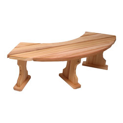 "All Things Cedar - All Things Cedar QR60U Quarter Round Backless Bench - Sectional Design Allows For Custom Arrangement Or To Make A Full 360 circle design - (4 sections will create 7 ft. circle across with 53"" inside diameter)    Dimensions:   60 x 15 x 17 in. (w x d x h)"