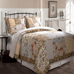 Greenland - Greenland Home Camilla Quilt & Sham Set  3-Piece  Full/Queen - A collage of updated floral and foulard fabrics in both natural and blue colors  the Camilla quilt set is perfect for any season  Quilted in a stylized vermicelli stitch pattern  Camilla reverses to a coordinating all-over geometric print