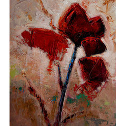 """""""Wild Red"""" (Original) By Kanayo Ede - Oil On Textured Canvas. Stretched And Could Be Hung As Is Or Framed."""