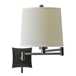 """House of Troy - House of Troy WS752-OB Oil Rubbed Bronze Pantograph Transitional Swing - Pantograph Wall SconceArm: 19""""Bulb: 100W 3-waySwitch: On socketShade: Beige Linen Hardback 8"""" x 9"""" x 8""""Cord: 11  ivory 30"""" cord coverBackplate: 4 3/4"""" x 4 3/4"""""""