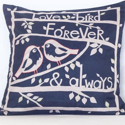 VintageMaya - Forever & Always Navy and White Embroidered Pillow Cover - Embrace your romantic nature with this charming navy blue and white lovebird pillow cover. Use it to cover a bedroom accent pillow or present it as a gift to that special someone in your life.