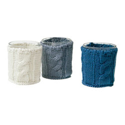 "Cable-Knit Votives Set - 2""D x 3""H – Hand-knit glass votive holders."