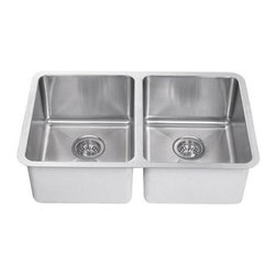 Vigo Industries - Double Bowl Stainless Steel Undermount Kitchen Sink - Padded and undercoated to reduce noise during use. Standard 3.5 in. rear drain opening. 18/10 Nickel content. Includes cut-out template and mounting hardware. Drain assembly not included. Limited lifetime warranty. 18.5 in. L x 29.25 in. W x 8 in. H15° radius corners, Satin finish and functional drain grooves make this stylish 18 gauge stainless steel sink the perfect addition to your kitchen decor.