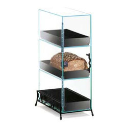 Cal Mil - 7W x 13D x 21H Classic 3 Tier Bread Case Black Base 1 Ct - This classic 3 tier bread case can be styled in three different ways. If you are looking for something more simple and fresh the case comes in all clear acrylic with no base. For a unique and modern twist add on a black base or wood accent Any of these bread cases will complement your bakery cafe or food service area.