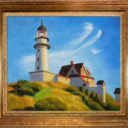 "overstockArt.com - Hopper - Lighthouse at Two Lights - 20"" X 24"" Oil Painting On Canvas Lighthouse at Two Lights was created in 1929. It is a remarkable oil painting with exceptional use of color, detail and brush strokes. The wispy clouds complemented by the smooth sided lighthouse make for a relaxed setting that's still ever watchful. Hopper received many honors in his lifetime for his exceptional use of color, detail, and subject matter. His classic works capture the authenticity of urban and rural American life with emotions and beauty that have placed them among the lasting and popular images of the American 20th century landscape. Make this painting a part of your home collection."