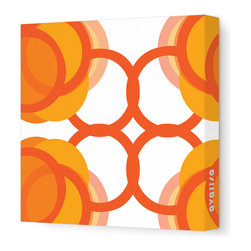"Avalisa - Pattern - 105 Stretched Wall Art, Orange, 12"" x 12"" - Pretty simple! If that's your style, this is your artwork. Linked and interlocking rings plus the clean, sleek look of stretched fabric equal an unfussy vibe for your favorite room."