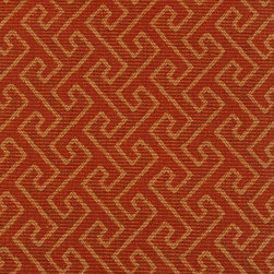 GREEK KEY - RUSTIC RED - Item #1009558-315. 45% Polyester 41% Cotton14% Viscose. Durability: 50,000  Cotton Duck Double Rubs, PASSES UFAC CLASS 1, PASSES NFPA 260A. Made in CHINA.