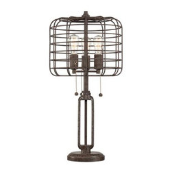 Industrial Cage Edison Bulb Rust Metal Table Lamp - I don't think this lampshade will be as easy to break as others, making it perfect for a little guy's room.