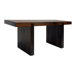 """Cliff Spencer Furniture Maker - Miyake Bench, Rusted Finish for Interior - Before 80% of the earths old growth forest had been cleared, every beam was rift sawn, entire barns were built out of walnut. """"Dunnage"""", the square pieces of wood used as support and padding in building, shipping and trucking, were made of high quality wood species, like oak. These days, dunnage is made from plastic. The Miyake Bench elevates the unique and incredibly dense grain of this vintage wood to heirloom quality, small batch furniture. The finish is a traditional and non-toxic process, using a rusty nail and vinegar. Floating dovetail joints provide both solid craftsmanship and understated design detail."""