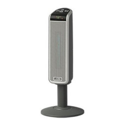 """Lasko - 30"""" Tall Digital Ceramic Pedestal Heater with Remote, 2 Settings - Lasko's 5397 Space-Saving Ceramic Pedestal Heater, with front-facing digital display, quickly circulates warmth at seated height where it's needed most. The Space-Saving pedestal design uses only about one square foot of floor space so it will fit almost anywhere without getting in the way. The safe ceramic heating element gives you 1500 watts of comforting warmth with widespread oscillation. Plus, the Multi-Function remote control gives you the option to change settings without moving from your desk or couch. Elevated pedestal heater quickly circulates warmth at seated height where it's needed most"""