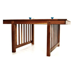 ecofirstart - Metropolis Table - Strong, sturdy and gorgeously slatted, this Craftsman-style table is a stunning centerpiece for your dining room. Crafted from sustainable wood with reinforced joinery and a rich, hand-rubbed finish, it's as ecofriendly as it is stylish.