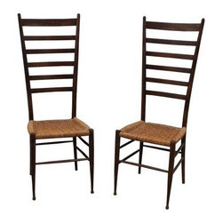 Used Gio Ponti Style Tall Back Ladder Chairs - A Pair - A fabulous pair of 1960's modern Gio Ponti style ladder back chairs, these pieces are in good vintage condition with some wear due to age and use.