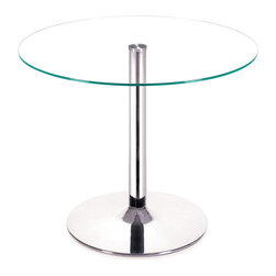 ZUO MODERN - Galaxy Dining Table Clear Glass - Your classic round dining table gets a modern update with a clear tempered glass top and a chromed steel tube center and base. The Galaxy dining�table brings modern class to any eating area: kitchen, dining, or break rooms.