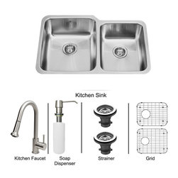 Vigo Industries - All in One 32 in. Undermount Stainless Steel Kitchen Sink, Faucet Set - Modernize the look of your entire kitchen with a VIGO All in One Kitchen Set featuring a 32 in. Undermount sink, faucet, soap dispenser, matching bottom grids and strainers. The VG3221L double bowl sink is manufactured with 18 gauge premium 304 Series stainless steel construction with commercial grade premium satin finish. Fully undercoated and padded with a unique multi layer sound eliminating technology, which also prevents condensation. All VIGO kitchen sinks are warranted against rust. Required interior cabinet space: 34 in. Kitchen sink is cUPC and NSF-61 certified by IAPMO. All mounting hardware and cutout template provided for 1/8 in. reveal or flush installation. The VG02002ST kitchen faucet features a dual function Pull-Out spray head for aerated flow or powerful spray, and is made of solid brass with a stainless steel finish. Includes a spray face that resists mineral buildup and is easy-to-clean. High-Quality ceramic disc cartridge. Retractable 360-Degree swivel spout expandable up to 30 in. Single lever water and temperature control. All mounting hardware and hot/cold waterlines are included. Water pressure tested for industry standard, 2. 2 GPM Flow Rate. Standard US plumbing 3/8 in. connections. Faucet height: 15 1/8 in. Spout reach: 8 3/4 in. Kitchen faucet is cUPC, NSF-61, and AB1953 certified by IAPMO. Faucet is ADA Compliant. 2-hole installation with soap dispenser. VGSD001ST Soap dispenser is solid brass with a stainless steel finish and fits 1 1/2 in. opening with a 3 1/2 in. spout projection. Matching bottom grids are Chrome-Plated stainless steel with vinyl feet and protective bumpers. Sink strainers are made of durable solid brass in chrome finish. All VIGO kitchen sinks and faucets have a Limited Lifetime Warranty.