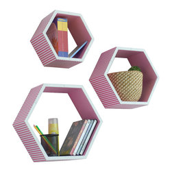 Blancho Bedding - Pink Beige Stripe Hexagon Leather Wall Shelves, Set of 3 - These beautifully Hexagonal Shaped Wall Shelves display the art of woodworking and add a refreshing element to your home. Versatile in design, these leather wall shelves come in various colors and patterns. These elegant pieces of wall decor can be used for various purposes. It is ideal for displaying keepsakes, books, CDs, photo frames and so much more. Install as shown or you may separate the shelves to create a layout that suits your taste and your style. They spice up your home's decor, and create a multifunctional storage unit for all around your home. Each box serves as a practical shelf, as well as a great wall decoration.