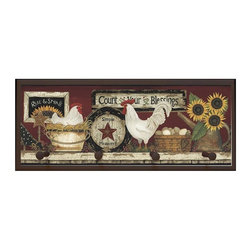 illumalite Designs - Hen and Rooster Plaque with Pegs - Includes hardware for hanging. Hand painted brown border. Four painted wooden pegs. Ready to be hung. Made from wood. Made in USA. 25.5 in. W x 4 in. D x 10 in. H (4 lbs.)This charming Hen and Rooster themed plaque is the perfect addition to any room. This plaque is the ideal size to add a country touch to any wall.