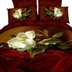 Dolce Mela - Luxury Romantic Bedding Duvet Cover Set Dolce Mela DM403K, King - Flavor your space with elegance with this reversible organic duvet cover set from Dolce-Mela's Elite Bedding Collection.  Inspired by retro oil painting art and featuring centered magnolias that will create the ultimate decor for a sophisticated bedroom.