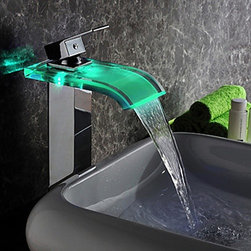 LED Faucets - Contemporary LED Waterfall Hydroelectric Power Glass Bathroom Sink Faucet Chrome Finish(Tall)