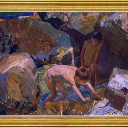 """Joaquin Sorolla Y Bastida-16""""x24"""" Framed Canvas - 16"""" x 24"""" Joaquin Sorolla Y Bastida Looking for Shellfish framed premium canvas print reproduced to meet museum quality standards. Our museum quality canvas prints are produced using high-precision print technology for a more accurate reproduction printed on high quality canvas with fade-resistant, archival inks. Our progressive business model allows us to offer works of art to you at the best wholesale pricing, significantly less than art gallery prices, affordable to all. This artwork is hand stretched onto wooden stretcher bars, then mounted into our 3"""" wide gold finish frame with black panel by one of our expert framers. Our framed canvas print comes with hardware, ready to hang on your wall.  We present a comprehensive collection of exceptional canvas art reproductions by Joaquin Sorolla Y Bastida."""