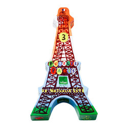 Vilac - Paris Puzzles By Nathalie Lété - This Eiffel Tower-shaped box features three 25-piece puzzles of iconic Parisian monuments for little ones to construct!