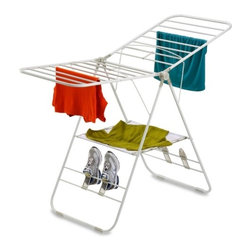 "Heavy-Duty Gullwing Drying Rack - Honey-Can-Do DRY-01610 Steel Gull Wing Clothes Dryer, White.  The space-saving unit offers an amazing 46-linear feet of drying area when fully assembled and folds down to 3-inches flat for easy storage when not in use. A full-featured choice, this drying rack has hanging space, a sweater shelf, and shoe rack to accommodate all of your clothing from lingerie to tennis shoes. The rack extends to 64"" wide, but only weighs a manageable 8.5 lbs. for convenient air-drying anywhere! Save on energy costs while protecting the environment and increasing the life of your clothing."