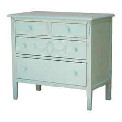 Sweet Elle Furniture - Mary Jane Dresser - Our  Mary Jane Dresser is part of the Mary Jane Bedroom Furniture Collection. This collection brings the charm of vintage chic to your home. Each piece is hand crafted from solid wood, and is decorated with pretty wood appliqu̩s. Crafted using traditional mortise and tenon joinery.