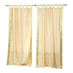 Indian Selections - Pair of Golden Tab Top Sheer Sari Curtains, 60 X 84 In. - Size of each curtain: 60 Inches wide X 84 Inches drop. Sizing Note: The curtain has a seam in the middle to allow for the wider length