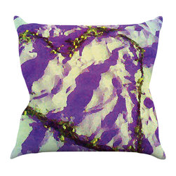 "Kess InHouse - Anne LaBrie ""Purple Tiger Love"" Purple Yellow Throw Pillow (16"" x 16"") - Rest among the art you love. Transform your hang out room into a hip gallery, that's also comfortable. With this pillow you can create an environment that reflects your unique style. It's amazing what a throw pillow can do to complete a room. (Kess InHouse is not responsible for pillow fighting that may occur as the result of creative stimulation)."