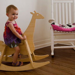 The Wee Rock Giraffe - This modern interpretation of the classic rocking horse is made from beautiful bamboo plywood that is made with a soy based resin and finished with a food-safe butcher block conditioner.  It's 6 parts assemble in under 5 minutes and do so with no tools or any metal hardware (no small parts ever).