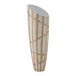 Kouboo - Funnel Vase with Twig Inlay, White - This vase features a distinctive funnel shape that adds a conversation piece to any room. Delicately handcrafted using sentimiento flower and nito twig, this accent piece is designed to hold water for fresh-cut flowers. 1 year limited warrantyDelicately hand-crafted using Sentimiento flower and Nito twigHolds water for fresh cut flowersClean with dry, soft cloth Weighs 2 lbs