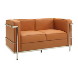 Modway Furniture - Modway Charles Petite Leather Loveseat in Tan - Petite Leather Loveseat in Tan belongs to Charles Collection by Modway Urban life has always a quandary for designers. While the torrent of external stimuli surrounds, the designer is vested with the task of introducing calm to the scene. From out of the surging wave of progress, the most talented can fashion a forcefield of tranquility. Perhaps the most telling aspect of the Charles series is how it painted the future world of progress. The coming technological era, like the externalized tubular steel frame, was intended to support and assist human endeavor. While the aesthetic rationalism of the padded leather seats foretold a period that would try to make sense of this growth. The result is an iconic sofa series that became the first to develop a new plan for modern living. If previous generations were interested in leaving the countryside for the cities, today it is very much the opposite. If given the choice, the younger generations would rather live freely while firmly seated in the clamorous heart of urbanism. The Charles series is the preferred choice for reception areas, living rooms, hotels, resorts, restaurants and other lounge spaces. Set Includes: One - Le Corbusier LC2 Loveseat Loveseat (1)